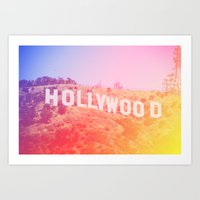 Colorful Hollywood Sign  Art Print