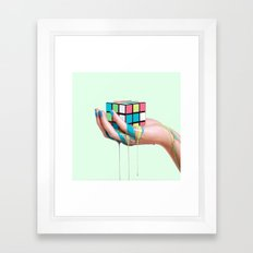 MELTING RUBIKS CUBE Framed Art Print