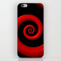 Red Spiral on Black Background iPhone & iPod Skin
