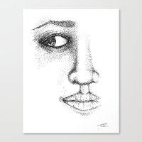 Fine Liner Stippling Girl 1 Canvas Print