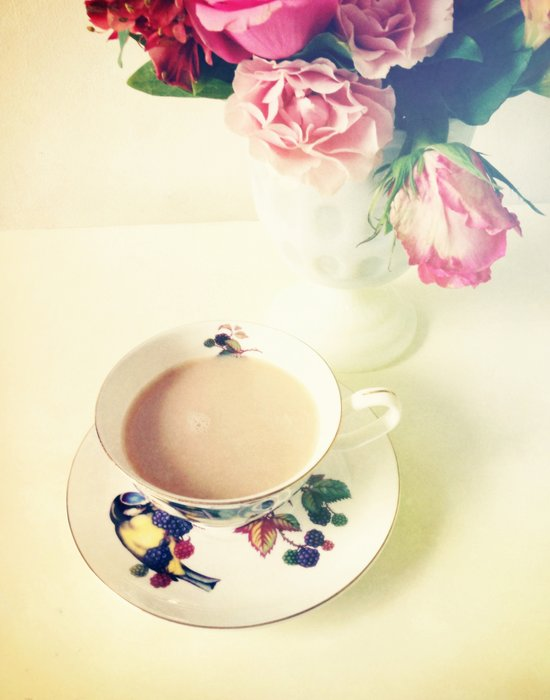 Roses and Chai Tea Art Print