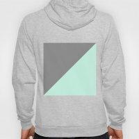 Grey And Mint Half Trian… Hoody