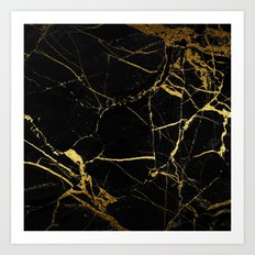 Black and Gold Marble Art Print
