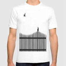 Bird on a fence SMALL White Mens Fitted Tee