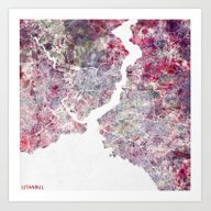 Art Print featuring Istanbul Map by MapMapMaps.Watercolo…