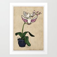 THE RARE SONGBIRD ORCHID Art Print