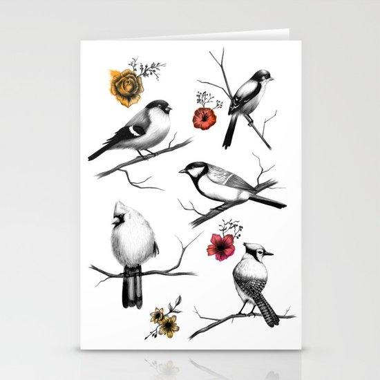 BIRDS & FLOWERS Stationery Card