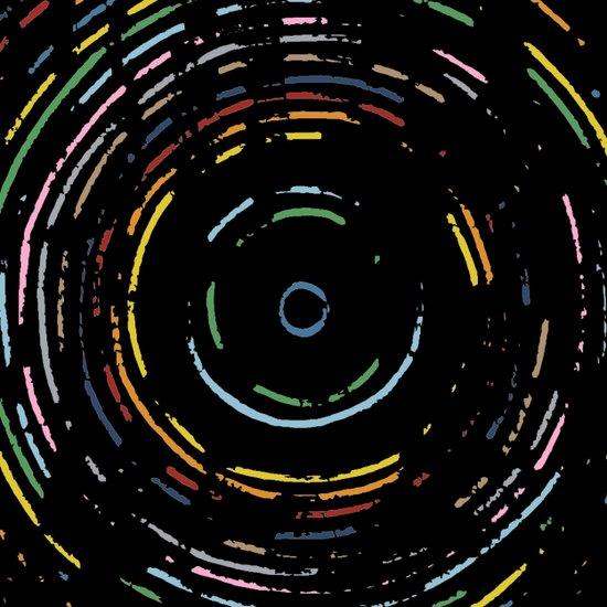 Rainbow Record on Black Closeup Art Print