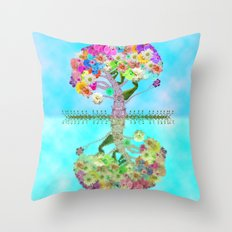 Cute Whimsical Bright Floral Tree Collage Teal Sky Throw Pillow