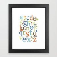 Alphabet Animals - Safari colorway Framed Art Print