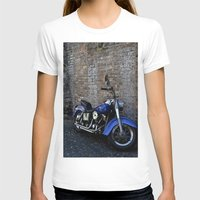 Blue Motorcycle Womens Fitted Tee White SMALL