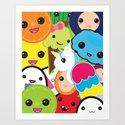 Kawaii Party Collage Art Print