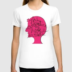 The Adventure is Here Inside Womens Fitted Tee White SMALL