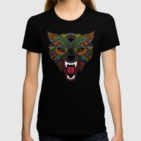 wolf fight flight orange Womens Fitted Tee Black SMALL