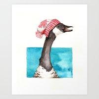 Canada Goose in a Canada Toque Art Print