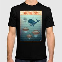 wise whale says Mens Fitted Tee Black SMALL