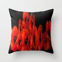ELEVEN RED POPPIES Throw Pillow
