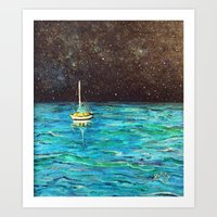 Sailboat Under The Stars Art Print