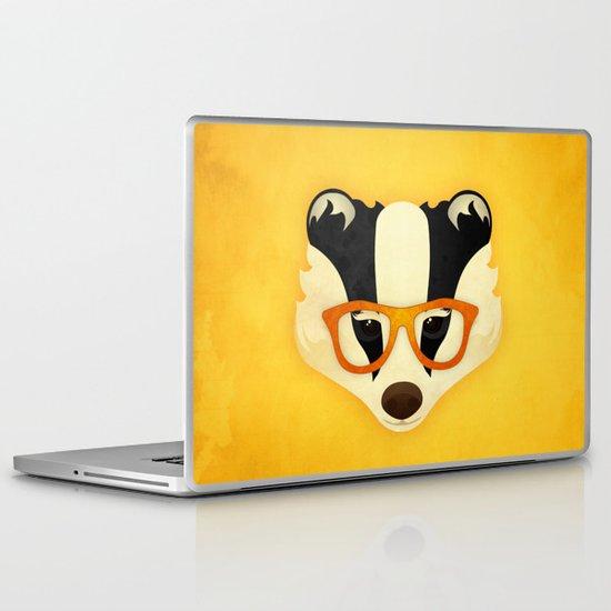 Hipster Badger: Gold Laptop & iPad Skin