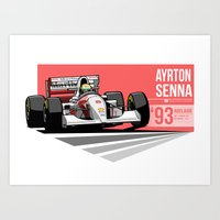 Ayrton Senna - 1993 Adel… Art Print