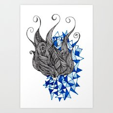 Black and Blue Art Print