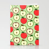 Green And Red Apple Patt… Stationery Cards