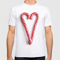 Candy Cane Heart Mens Fitted Tee Ash Grey SMALL