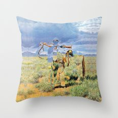 The Unknown Rider in Prairie Knight Throw Pillow