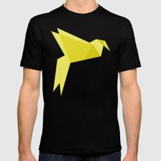 Origami Bird Black Mens Fitted Tee SMALL