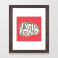 I VOTE POTATO Framed Art Print