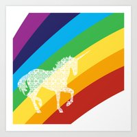 Unicorn on rainbow art Art Print