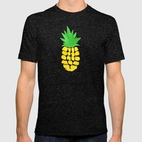 Watercolor Pineapples Tropic Mens Fitted Tee Tri-Black SMALL