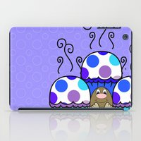 Cute Monster With Blue And Purple Polkadot Cupcakes iPad Case