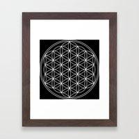 Black White Flower of Life Framed Art Print