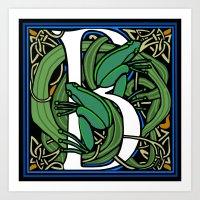 Celt Frog Letter B Art Print