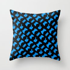 Gamer - Aqua on Black Throw Pillow