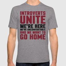 Introverts Unite Funny Quote Mens Fitted Tee Athletic Grey SMALL