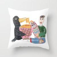 Lamen Bird. Throw Pillow