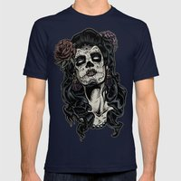 Day of The Dead Woman Mens Fitted Tee Navy SMALL