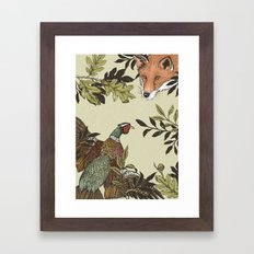 Fox & Pheasant Framed Art Print