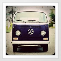 Blue VW Bus Art Print