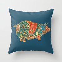 Painted Pig Throw Pillow