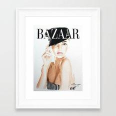 Harper's Bazaar Magazine Cover. Miranda Kerr. Fashion Illustration Framed Art Print