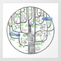 happy tree (black and green) Art Print