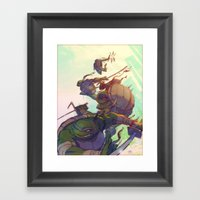 Fearsome Fighting Teens Framed Art Print