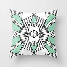 Triangle Tribal Mint Throw Pillow