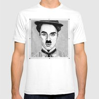 Charles Spencer Chaplin Mens Fitted Tee White SMALL