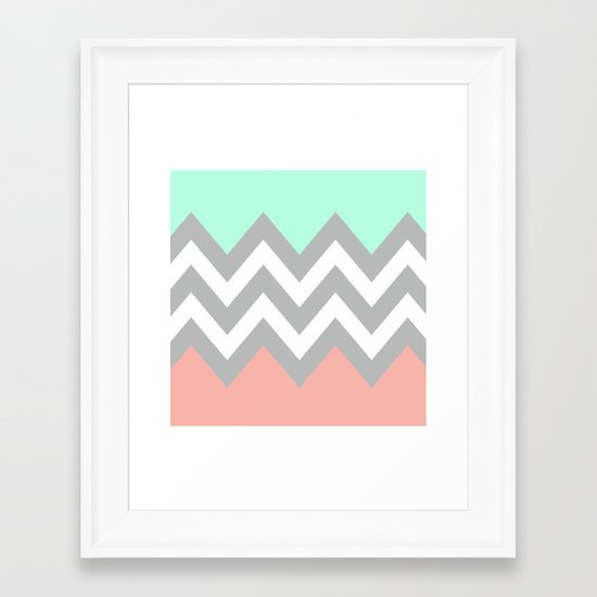 DOUBLE COLORBLOCK CHEVRON {MINT/CORAL/GRAY} Framed Art Print