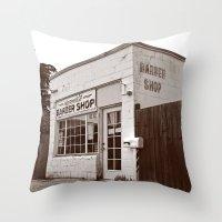 Neighborhood barber shop Throw Pillow