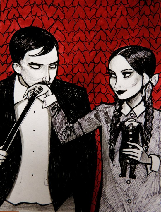 Morticia & Gomez Adams Art Print